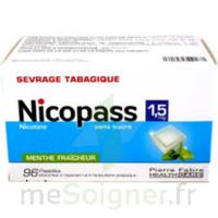 Nicopass 1,5 mg Pastille sans sucre menthe fraîcheur Plq/96 à CHAMPAGNOLE